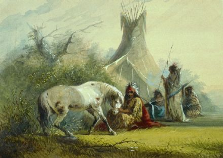 Miller, Alfred Jacob: Shoshone Indian and his Pet Horse. Fine Art Print/Poster. Sizes: A4/A3/A2/A1 (003839)